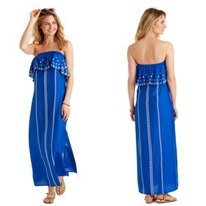 Vineyard vines embroidered maxi dress yacht blue!